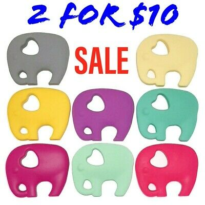 SALE 2 x Silicone Elephant Baby Teethers - (Was Teething Necklace) Sensory Chew