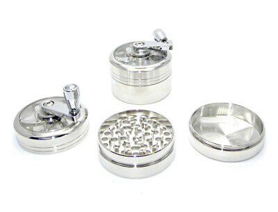Large 55mm Hand Mill Tobacco Grinder 3 Part Silver Herb Spice Crusher