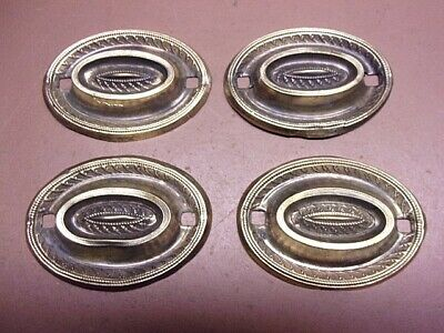 """Lot of 4 Vintage Thin Oval Brass Drawer Cabinet Door Back Plates 3"""" x 2 1/4"""""""