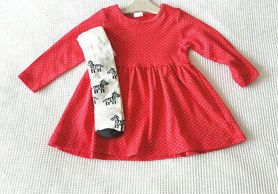 Next Baby Girls Red Spotted Dress & White Tights Age 9-12 Months BNWT