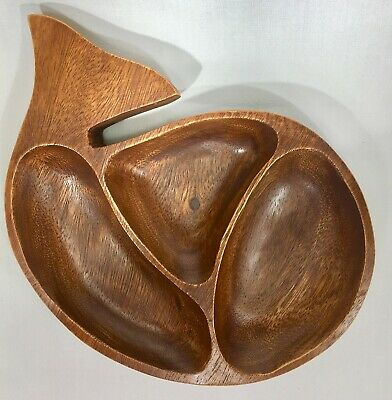 Whale Shaped Wood Divided Dish, Vintage Mid-Century Modern