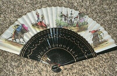 Vintage Hand Painted Spanish Bull Fighting Hand Fan