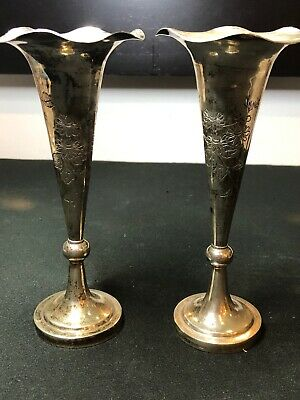 Antique Pair Chinese Solid Silver Fluted Vases On Chinese Carved Wood Base