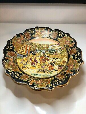 Antique Oriental Hand Painted Porcelain Fruit Bowl Round Pedestal Nature Scene