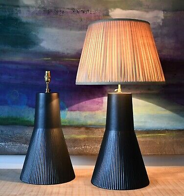 A Pair of Vintage French Black Ceramic Brass Hall Bed Side Console Table Lamps