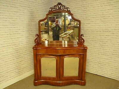 Antique Victorian Flame,Satin Mahogany Mirrored Buffet Server,Chiffonier Cabinet