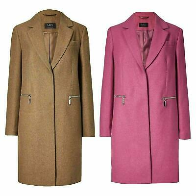 NEW Ex M&S Wool Blend Single Breasted Coat Camel Size 8-24 RRP £69
