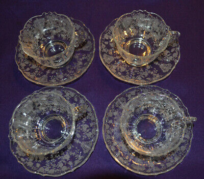Cambridge ROSE POINT CRYSTAL 4 Teacup and Saucer Sets #3900 Mint! Gorgeous!