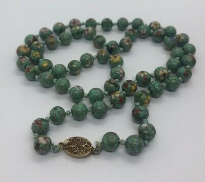 """Vintage Necklace Cloisonne Bead Knotted Green Enamel Chinese 27"""" Flower"""