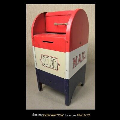 Vintage 1950s US Mail Red White & Blue Mailbox Still Bank with Key