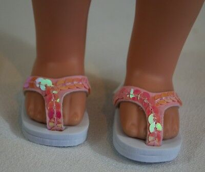 "YELLOW Flower Sandals Doll Shoes For 14/"" American Girl Wellie Wishers Debs"