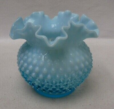 FENTON glassware HOBNAIL BLUE Opalescent pattern Double Crimped Vase  5-1/2""