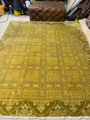 Auth:  Antique ART DECO Chinese Rug Rare Fete Mustard Yellow 8x10 Wool Beauty NR