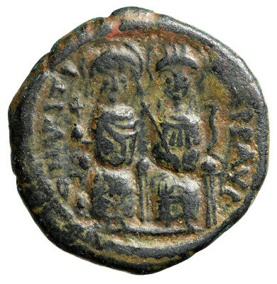 "Justin II AE Follis ""Seated with Wife Sophia / M"" Nicomedia Year 3 567-568 AD"