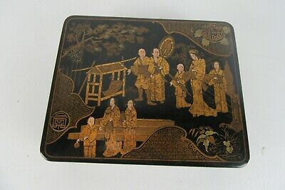 Antique Chinese Black Lacquer and gold gilt box hand painted Garden Scene