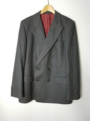 Vintage Daks Signature Grey Striped Wool Double Breasted Blazer Jacket size 42