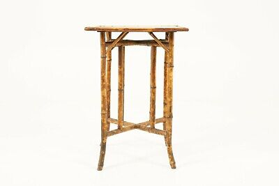 Antique Victorian Two Tier Bamboo Oriental Lamp Side Table, Scotland 1870 B1767