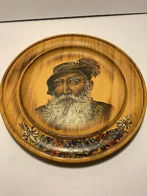 Wooden Plate Man With Bird And Pipe Signatures On Back Dated 29/6/90 Approx.12""
