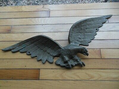 """Vintage Solid Brass Eagle American 26"""" Wingspan Heavy 6 1/2 LBS Wall Plaque"""