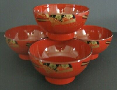 Vintage Japanese Soup Bowls Rice Noodle Red Black & Gold Lacquer Yamanaka Japan