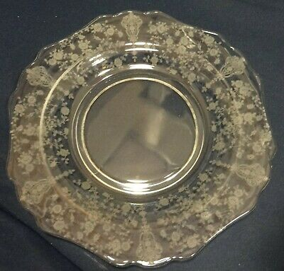 """Rose Point Crystal Dinner Plate 10.25"""" 3900/24 Cambridge Glass Company"""