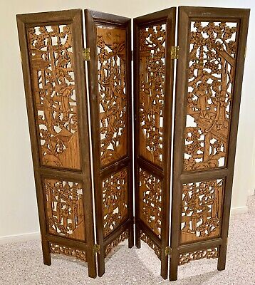 Mid 20th Century Chinese Antique Carved Wood Panels Screen/Room Divider
