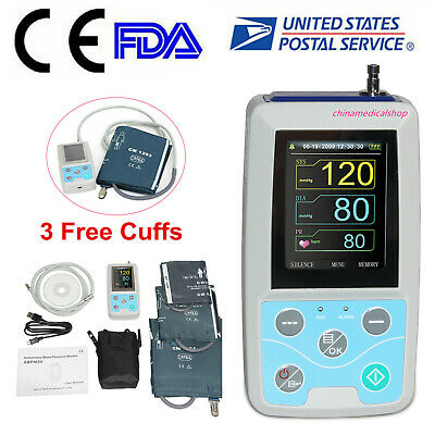 FDA ABPM50 24 Hours Care Ambulatory Blood Pressure Monitor +3 Cuffs Child /Adult