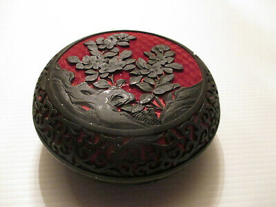VINTAGE ASIAN CHINESE FLORAL Cinnabar Black & Red Lacquer Enamel LIDDED BOX