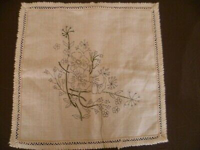 Vintage Cushion Cover Traced Stamped Linen SEMCO to Complete Embroider Floral