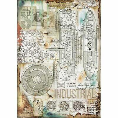Rice Paper - Decoupage - Stamperia - 1 x A4 Size Sheet - Industrial