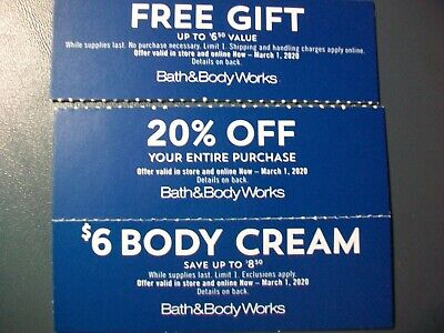 Bath and Body Works Coupon 20% OFF Save on Body Cream Lot of 3 Coupons 3/1/2020
