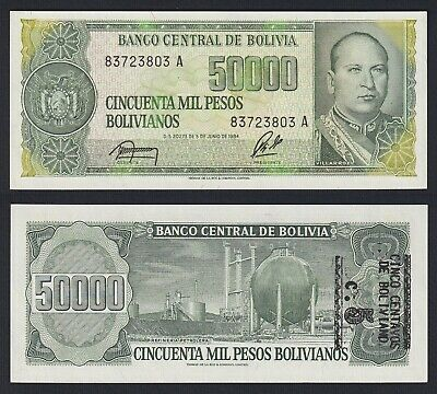 Bolivia,1 centavo on 10000 10.000 1987,Unc,Consecutive 5 Pcs Lot P-195 Pesos