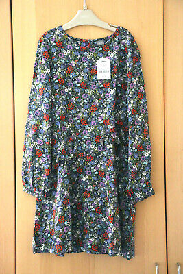 Next Girls Navy Floral Long Sleeved Dress Age 9 Years BNWT