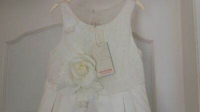 Bnwt Girls Monsoon Rose Party Bridesmaid Dress Ivory 7 Years E