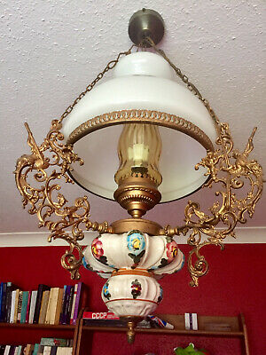 Antique Vintage Rare French ceiling light, gilded brass, opaline glass, china