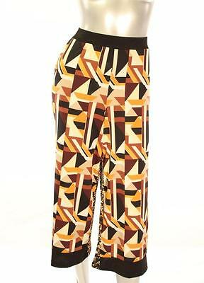 New Women's #2227-952 Ny Collection Multi Color Print Wide Leg Loose Capri Sz L