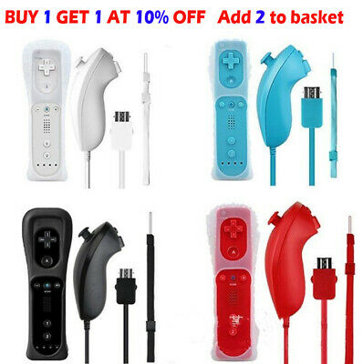 Remote & Nunchuck Controller WITH SILICONE CASE Box For NINTENDO WII 5 Colors`
