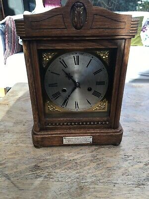 "Oak Cased Vintage large striking mantle clock 11""high St Mary Disley"