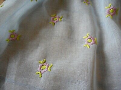Sweet Vintage Floral Embroidered Light Semi Sheer Cotton Blend Fabric ~Blue Pink