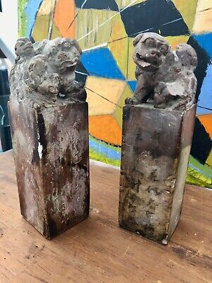 19th Century Chinese Soapstone seals lion dogs(foo) with pups ,carved poem/front