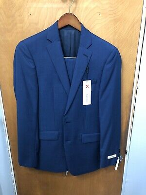 Mens 38R Calvin Klein Extreme Slim Fit Blue Two Button Wool Suit - NEVER WORN