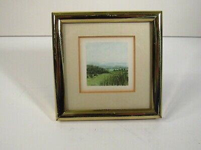 Miniature Watercolor Painting - Landscape - Signed - Matted & Framed