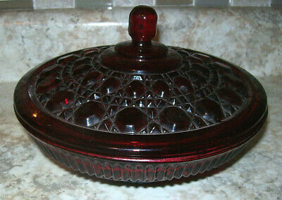 "Vintage Indiana ""Windsor"" Glass Red Depression Candy Dish Bowl Covered"