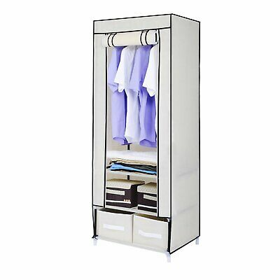 Hapilife Beige Canvas Effect Strong Clothes Rail Shelves Storage Drawer Wardrobe