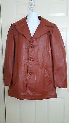 Vintage 60s 70s Genuine Leather men's size 42 button up Burgundy Jacket coat