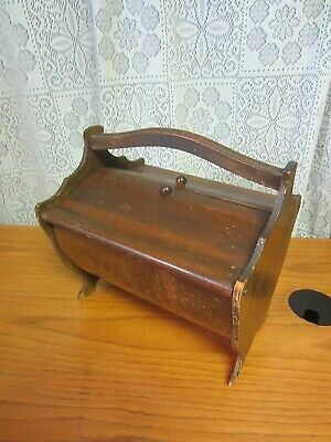 Vintage WOODEN SEWING BOX~Unique Design~Curved Base & Legs