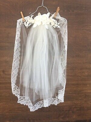 Vintage Lace And Organza Veil- Medium Length With Flowers