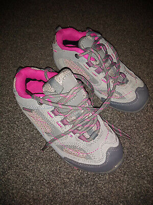 peter storm trainers child size 12 grey with pink trim new