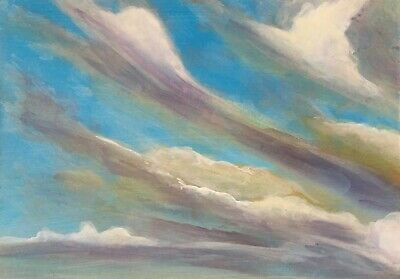 """Clouds 4 by award winning artist. Original Signed Acrylic Painting 5"""" x 7"""""""