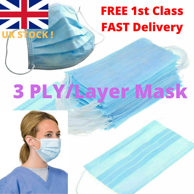 Disposable Surgical Face Masks 3 Ply Anti Virus Smog Flu Mask Earloops or Tie On